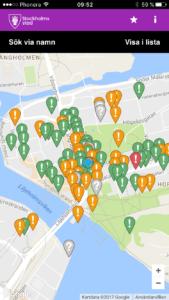 Livsmedelkollen visar läget runt Hornstull i Stockholm. Grönt är godkänt, orange mindre brister och rött större brister.